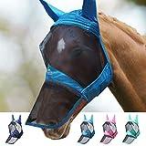 Harrison Howard CareMaster Pro Luminous Máscara de mosca de caballo Nariz larga con orejas Protección UV para caballo-Verde azulado (L)