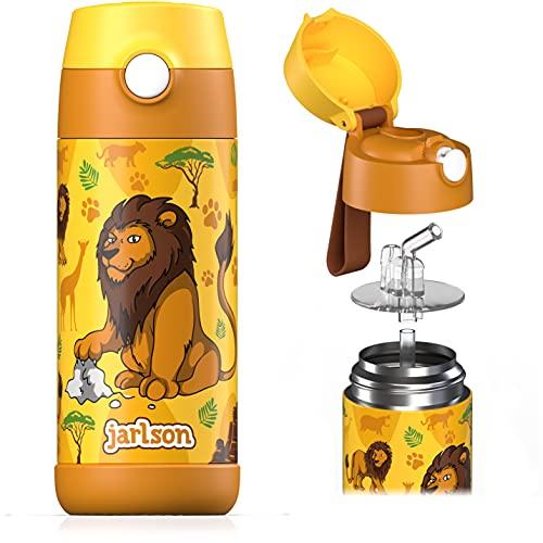 Jarlson® Borraccia Bambini Acciaio Inox, Bottiglia Termica, Senza BPA, Bottiglia Acqua con Cannuccia, Termos 350 ml (Leone 2, 350)