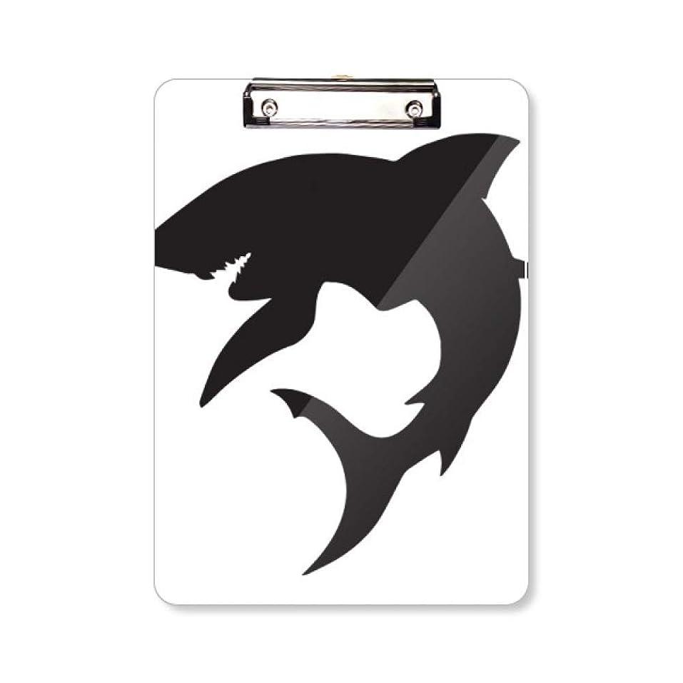 落とし穴ペストリー段階シルエット?ブルー?オーシャン?サメは獰猛な魚 フラットヘッドフォルダーライティングパッドテストA4