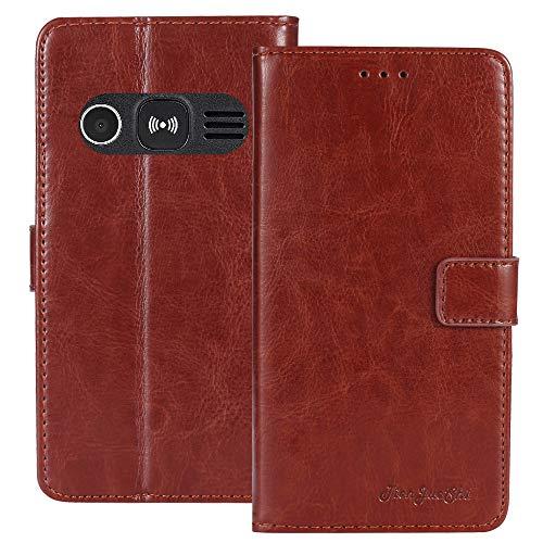 TienJueShi Braun Retro TPU Silikon Flip Book Stand Brief Leder Tasche Schütz Hülle Handy Hülle Für Doro 1361 2.4 inch Abdeckung Wallet Cover Etui