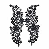 Qinlee Spitze Blumen Aufnäher Applique Applikationen Embroidery Flicken Patches Applikation Aufbügler Bügelbild Aufnäher DIY Mode Handwerk Dekoration Flicken für Kleidung size 29*10cm (Schwarz)