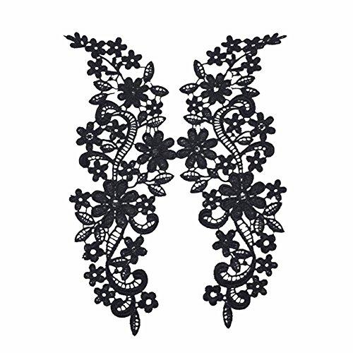 Chytaii Apliques Parche Encaje Bordado Costura DIY Artesanía Bordado Flores Para Ropa/Bolsa/Pantalones Un par de Dos Negro