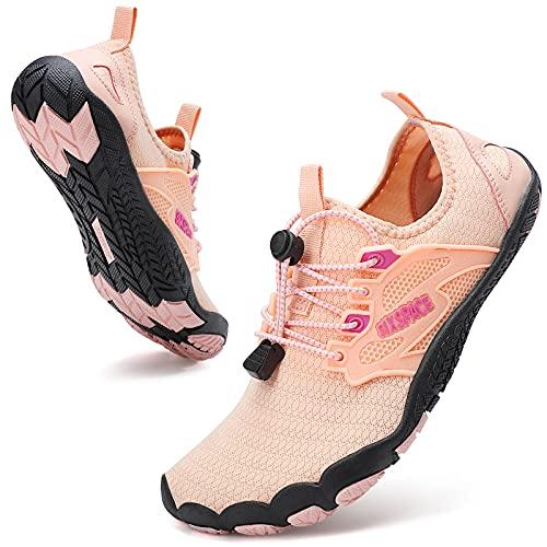 Sixspace Herren Damen Barfussschuhe Badeschuhe Atmungsaktiv Wasserschuhe Laufschuhe Traillaufschuhe Schnell Trocknend Strandschuhe Fitnessschuhe für Wassersport Outdoor Trekking,Pink 40 EU
