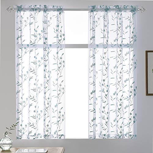 """Sheer Curtains Blue 45 Inches Long Floral Embroidery Rod Pocket Voile Drapes for Living Room, Bedroom, Window Treatments Semi Lace Outdoor Curtain Panels for Yard, Kitchen, Villa, Set of 2, 52""""x 45""""."""