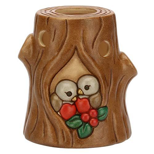 THUN  - Porta Candela - a Forma di Tronco con pettirossi - Linea Preludio d'inverno - Ceramica - Candela Non Inclusa - 11x10,4x9,8 cm