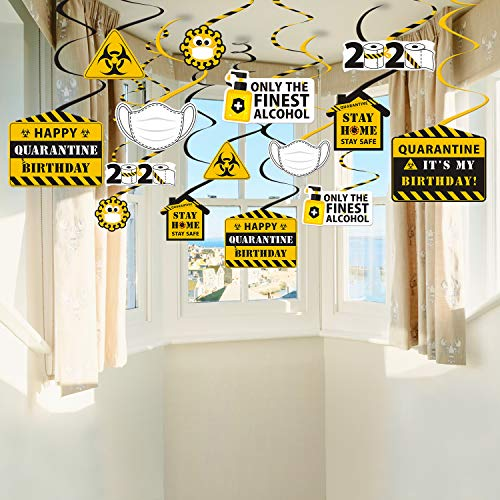 40CT Happy Quarantine Birthday Hanging Swirls Decorations Social Distancing Party Decor Quarantine Birthday Party Favors Birthday Party Parade Yard Sign Decorations Stay Home Party Decorations