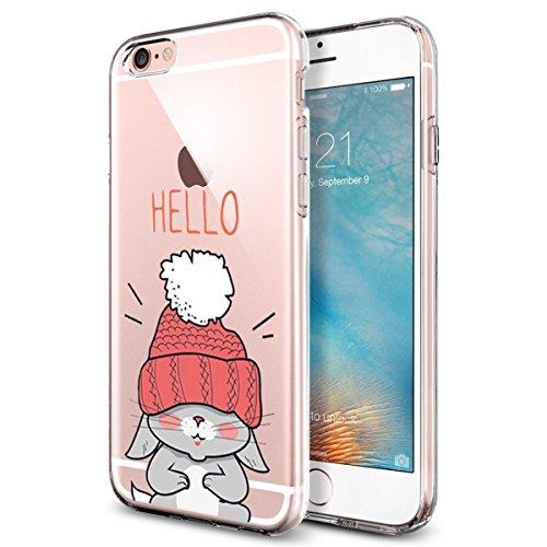 Cover Rose Fiore Design per iPhone 6 iPhone 6S Case TPU Gomma Morbida Trasparente Silicone Ultra Sottile Slim Disegno Personalizzato Cartoni Animati Gatto Custodia per iPhone 6 6S 4.7'' (Gatto)