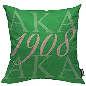Mugod AKA 1908 Throw Pillow Also Known As Abbreviation Hip Hop Style Pink Green White Cotton Linen Square Cushion Cover Standard Pillowcase 18x18 Inch for Home Decorative Bedroom/Living Room/Car