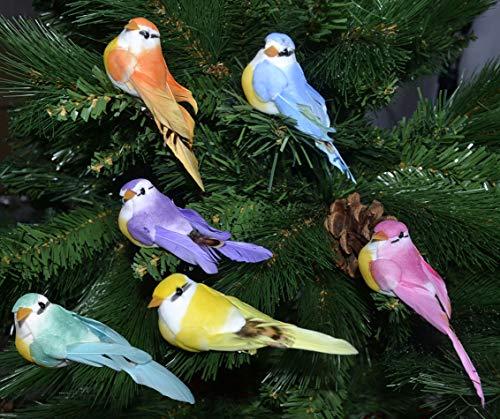 warenplus 6pcs/Set Künstliche Vögel Christbaumschmuck Christbaumdeko Weihnachtsdeko Figure