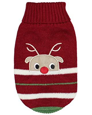Parisian Pet Dog Sweaters for Small Dogs Clothes for Medium Dogs Winter Jacket Outfits Dog Cable Knit Sweater (M, Reindeer) by Parisian Pet