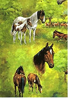 Horses On Pasture Gift Wrapping Paper -Two 26 In x 6 Ft Sheets