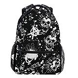 Oarencol Rucksäcke mit weißem Punk, Totenkopf, Mohawk Haar, Vintage-Stil, für Reisen, Schule,...