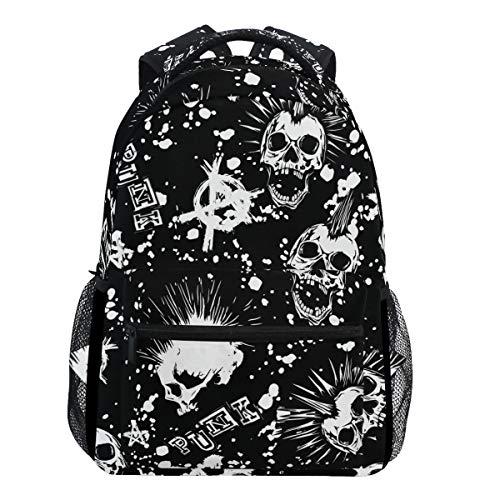 Oarencol Rucksack mit weißem Punk-/Totenkopf-Design, Mohawk-Haar, Vintage-Stil, für Damen, Mädchen, Herren, Jungen, Teenager