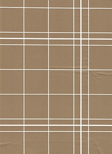 Broder Manufacturing Inc White Lines Flannelback Vinyl Tablecloth in Brown, 60x104 Oblong (Rectangle)