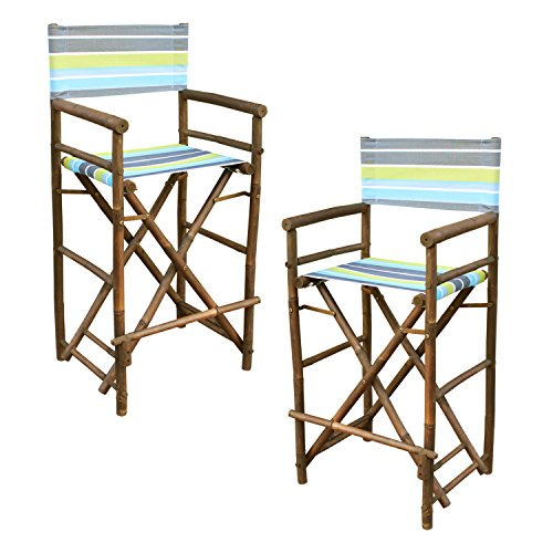 Statra Bamboo Barstool-Espresso Color Green Stripes Canvas Bar Height Folding Chairs Counter Stool Outdoor Indoor Tall Camping Set of 2, 15 x 15