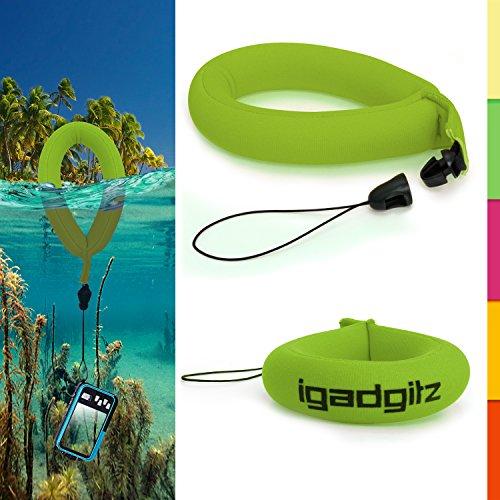 igadgitz 1 Pack Grün Wasserfestes Schwimmende Handschlaufe Armband Geeignet für Nikon Coolpix AW110, AW100 & S31 Kameras