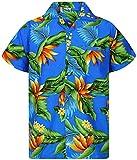 King Kameha Funky Camicia Hawaiana, Strelitzie, Azzurro, XS