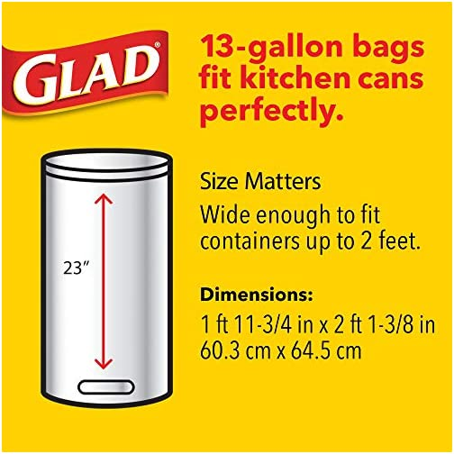 Glad ForceFlex Tall Kitchen Drawstring Trash Bags 13 Gallon Grey Trash Bag, Unscented 80 Count (Package May Vary) 7