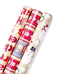 Hallmark Reversible Christmas Wrapping Paper Bundle (Pack of 3; 120 sq. ft. ttl.) Brown and Red, Mer