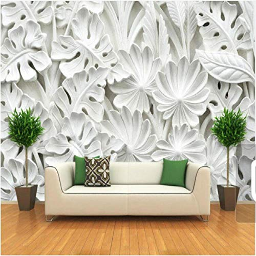 Guyuell Leaf Pattern Plaster Relief Murals Wallpaper for Walls Living Room Tv Backdrop Bedroom Wall Painting 3D Wall Papers Decor Custom-450X300Cm