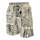 Uomo Casuale Pantaloncini da Surf,Accessori antichi per Cucire e Strumenti di Scrittura Rivista di Moda Vintage per la Donna,Costume da Bagno Sportivo Abbigliamento da Spiaggia con Fodera in Rete