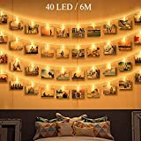 Guirlande Lumineuse Photo, Zorara 6M 40 LEDs Guirlande Led Interieur Chambre Fonctionne à Piles, Photo Clip Accroche Porte Photo...