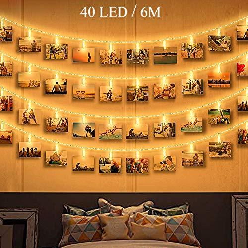 Zorara Led-lichtsnoer met klemmen voor foto's, 6 m, 40 leds, fotoclip, lichtsnoer, fotolicht, ketting, clip, afbeeldingen, lichtsnoer, warmwit, werkt op batterijen, fotolijst, decoratie voor kamer