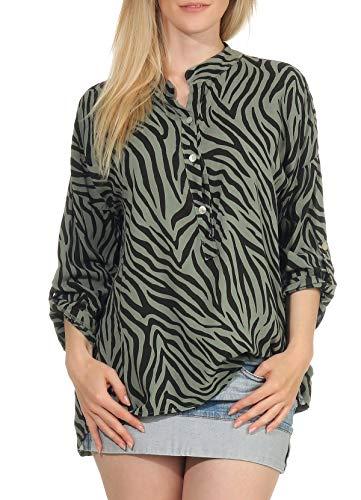 Malito Damen Bluse mit Muster | Tunika mit ¾ Armen | Longsleeve mit Animal Print | Elegant - Oversize - Shirt 6705 (Oliv)