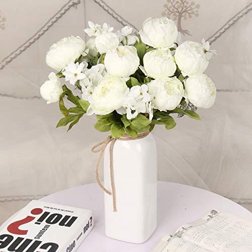 Kunstbloemen grote capaciteit bruids boeket zijde zijde bloem pioen arrangement familie partij decoratie arrangement,Milky white,5pcs