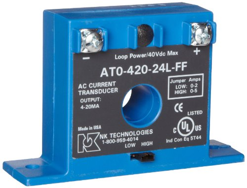 NK Technologies AT1-420-24L-FF AC Current Transducer, Solid-core, Front Term, 4-20mA Output Range, 0-10, 0-20, & 0-50A Input Range, 12-40VDC Power Supply