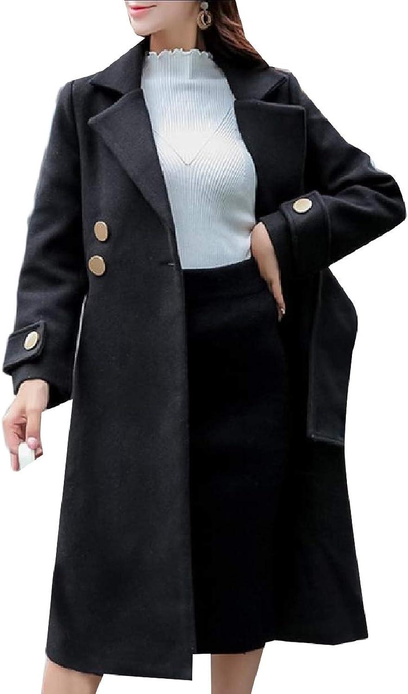 Winme Women Classics Wool Blends Winter Notch Lapel Patch Walker Coat