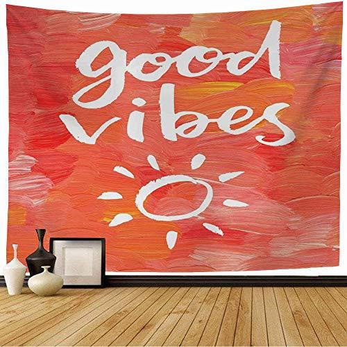 Tapiz de Pared Tapestry Mancha Artístico Rosa Buenas vibraciones Mano Letras Pensamiento Dibujo Cita Hipster en diseño Positivo Wall Hanging 80X60inch