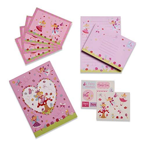 Lucy Locket - Juego de Escritura Infantil con «Hadas» de Color Rosa - Kit de papelería con Hojas, Sobres y Postales para niños