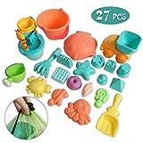 YifKoKo 27 teiliges Strandspielzeug Set Strand Sandspielzeug-Spielset für Kinder Sandkastenspielzeug den Enthält Wasserrad Strandbuggy Eimer Gießkanne Sandburg Baukasten