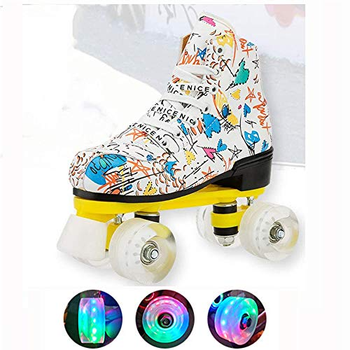WEDSGTV Classic Graffiti Quad Rollschuhe,LED Blink Rollen Zweireihige Skates,Komfortables Und Atmungsaktives Sneakers Für Mädchen Und Jungen,White-45