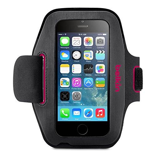 Belkin Sport Fit Sport-Armband (atmungsaktives Neoprenmaterial und verstellbarer Riemen, geeignet für iPhone 6/6s) schwarz/pink