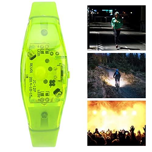 FOLOSAFENAR La Pulsera Que Destella, Seguridad de la Noche del silicón de la Pulsera del LED Enciende para Arriba el Tipo del botón para el Funcionamiento Nocturno(Green)