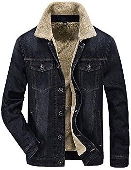 Tanming Men s Warm Fur Lapel Collar Sherpa Fleece Lined Denim Jean Jacket Coats  Black-XL