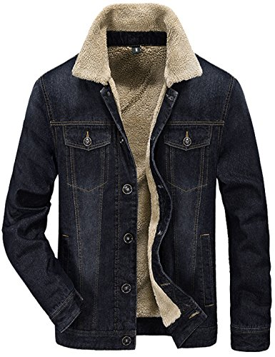 Tanming Men's Winter Warm Fur Lapel Collar Sherpa Fleece Lined Denim Jacket Coats (Medium, Black)