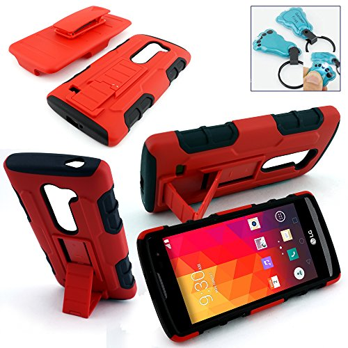 Customerfirst - For Lg Leon LTE / Power L22c (Tracfone / Net10) / Destiny L21g (Straighttalk) Holster Belt Clip Case, Dual Layer Protector Slim Hybrid Armor Case for for Lg Leon LTE Case / Lg Power L22c (Straight Talk / Metro PCS / T-mobile / Tracfone) - Includes Key Chain (H RED Black)