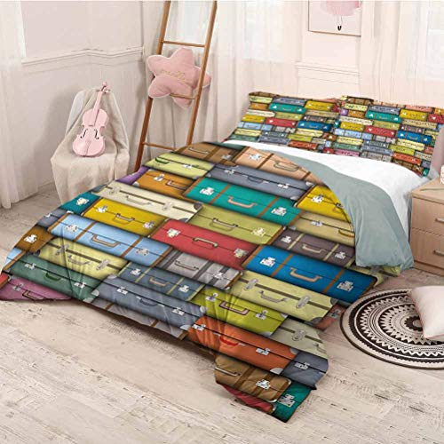 HELLOLEON Modern 3-Pack (1 Duvet Cover and 2 Pillowcases) Bedding Colorful Suitcases Background Vintage Travel Voyage Holiday Themed Artful Design Polyester (King) Multicolor