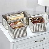 mDesign 6er-Set Stoffbox für Schrank oder Schublade – die ideale Aufbewahrungsbox für Wäsche, Gürtel, Accessoires etc. – flexibel verwendbare Stoffkiste mit Zick-Zack-Muster – beige - 4