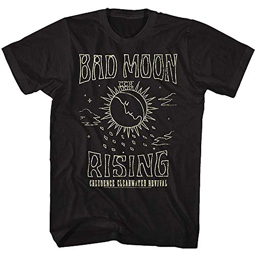 Creedence Clearwater Revival American Rock Band Bad Moon Rising Adult Short Sleeve T Shirt for Men Uomini Short Sleeve Graphic Tee Size L