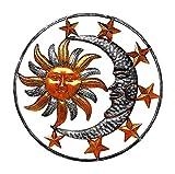 """Large Metal Sun Moon Star Wall Art Sculpture Decor for Indoor Outdoor (17"""" Diameter)"""