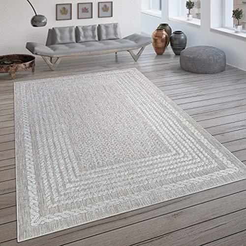 Paco Home In- & Outdoor-Teppich, Flachgewebe Mit Skandi-Muster Und Sisal-Look In Cream, Grösse:200x290 cm