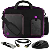 VanGoddy Plum Purple Laptop Messenger Bag for MSI GS30 Shadow 13inch Gaming Laptop + HDMI Cable, Mouse, Flash Drive