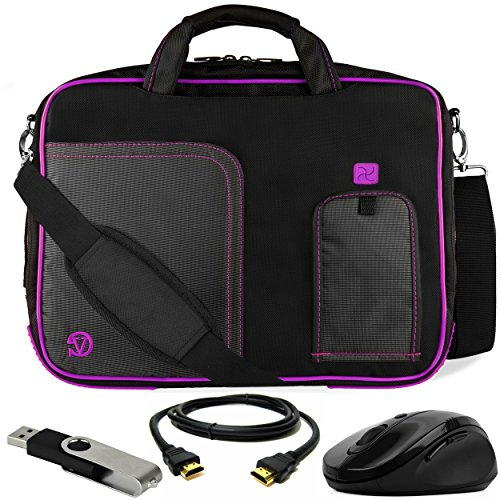 VanGoddy Plum Purple Laptop Messenger Bag for Lenovo ThinkPad/IdeaPad/Yoga / 13.3inch Laptops + HDMI Cable, Mouse, Flash Drive