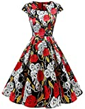 Women's 50s 60s Retro Vintage Cocktail A-Line Cap Sleeve Swing Prom Formal Party Dress Black Rose Skull XS