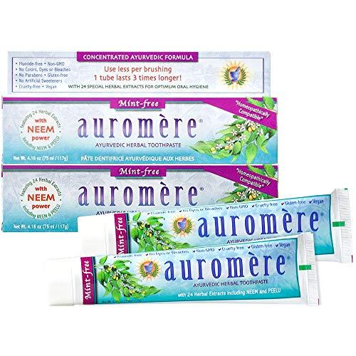 Auromere Ayurvedic Herbal Toothpaste, Mint Free - Vegan, Natural, Non GMO, Fluoride Free, Gluten Free, with Neem & Peelu (4.16 oz), 2 Pack