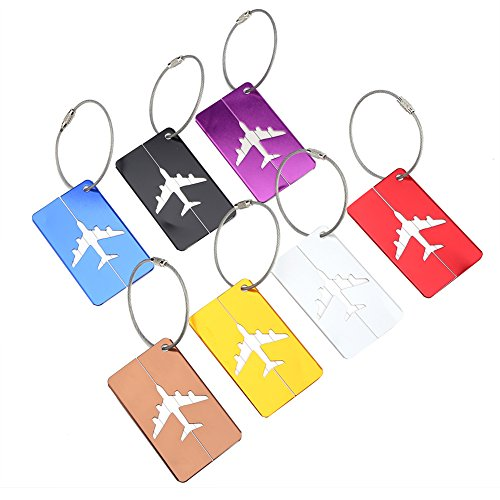 OhhGo 7pcs/Set Aluminium Alloy Travel Luggage Bag Tags Identifier Tags Travel Labels Accessories
